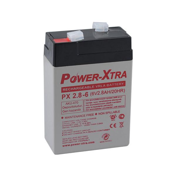 Power-Xtra 6V 2.8 Ah Bakımsız Kuru Ak�...