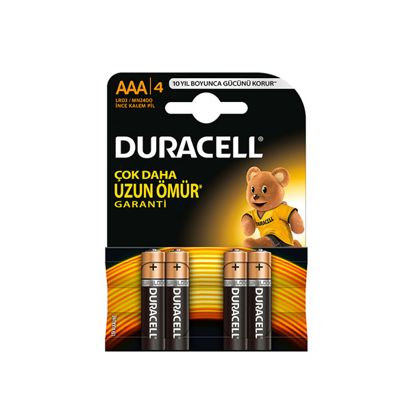 Duracell  AAA ince Pil Alkalin 4'lü